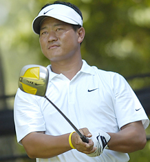 K.J Choi Takes Hardware From Tiger Winning AT&T National