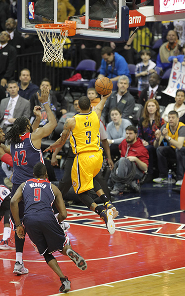 wizards vs pacers hill drives for winning  basket