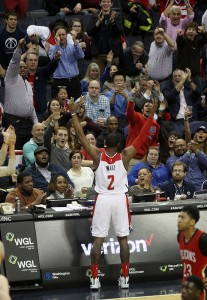 John Wall Celebrates After Finding His Game in the Second Half Against the Pelicans