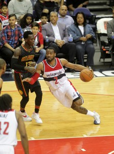 John Wall tries to get past the Atlanta Defense in the fourth quarter.