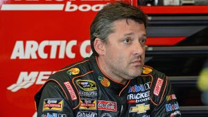 Tony Stewart Sits in the Garage After a Practice in 2015. File Photo