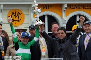 Exaggerator and Team Desormeaux winner of 2016 Preakness. Photo By Benjamin Rogers, Jr