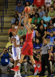 Elena Delle Donne of Team USA shoots over a French National Team Defender during the first quarter of the USA Basketball Showcase at the University of Delaware