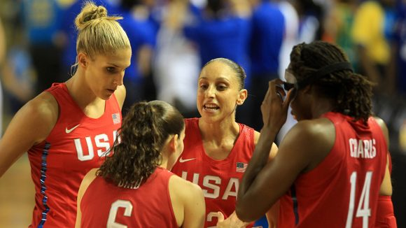 Elena Delle Donne, Sue Bird, Diana Taurasi and Tina Charles gather during a timeout of the USA Basketball Showcase at the University of Delaware