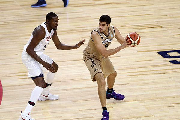 Kevin Durant of the USA Olympic Basketball Team Applies the Defense on the Argentina National Select Basketball team at T Moblie Arena in Las Vegas