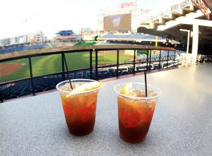Captain Morgan drinks with the backdrop of Nationals Park served as the final stop on the #under35potus bus tour