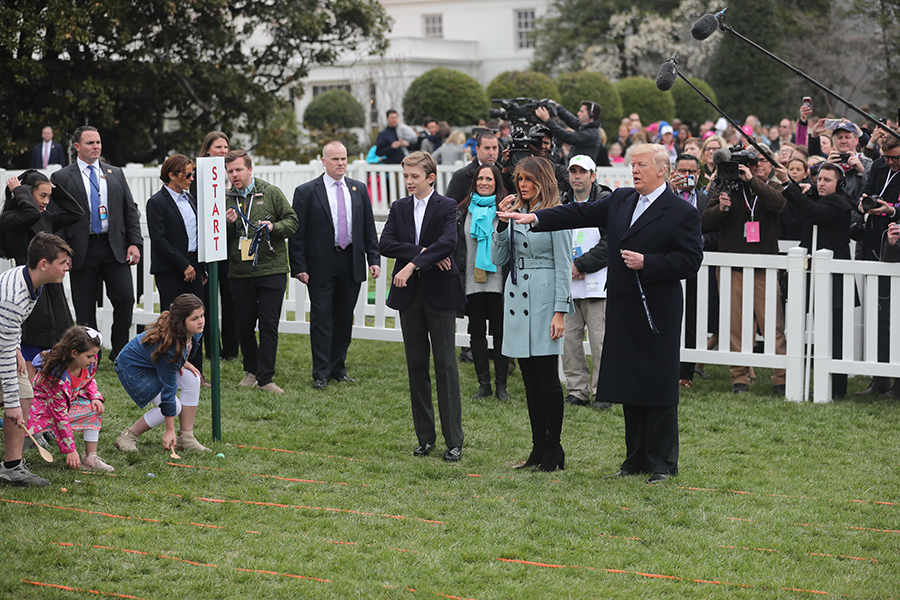 2018 White House Easter Egg Roll President Trump Carries On A White